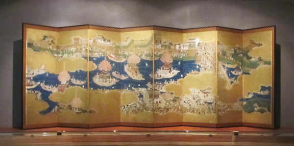 """Nigh Festival of Tsushima Shrine"" early Edo period, eight-panel screens;"