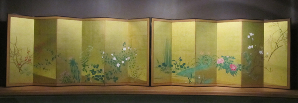 "Yamaguchi Soken (1759-1818) ""Flowers and Plants of the Four Seasons"" pair of six-panel screens"