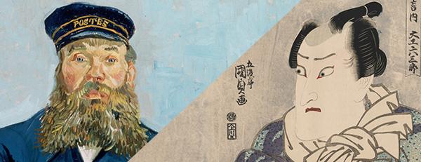 写真は、ゴッホの有名な「郵便配達夫ジョゼフ・ルーラル」と歌川国定の浮世絵「大工・六三郎を演ずる歌舞伎役者・二代目尾上松輔」です。国定(1786-1864)の浮世絵がゴッホ(1853-1890)の作品のお手本だったことを、実物を展示して見せてくれるのです。
