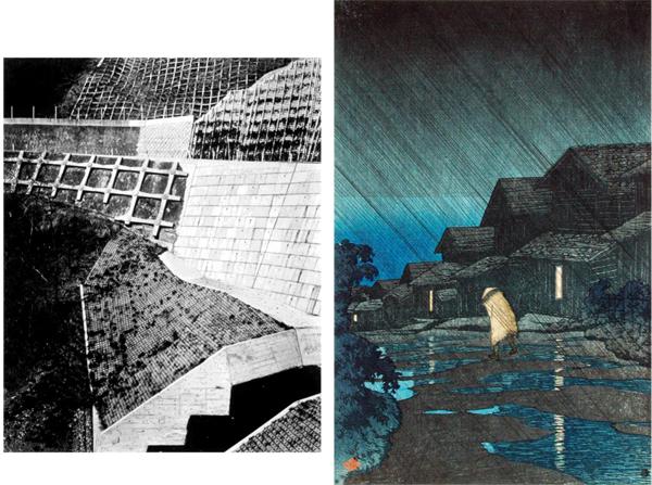 (Left Photo) Kawase Hasui, Evening Shower, Teradomari, August 27, 1921. Color woodblock print. Image: 14 3/4 x 9 7/8 in. LACMA, Gift of Carl Holmes. (Right Photo) Toshio Shibata, Hirota Village, Tokyo, 1994, printed 1995. Gelatin silver print. Frame 48 1/4 x 40 3/6 x 1 7/16 in. LACMA, Ralph M. Parsons Fund. © Toshio Shibata. © 2016 Museum Association/LACMA