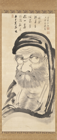 Taikan Monju (1766 – 1842) Bodhidharma (Daruma) 1836, Hanging scroll: ink on paper. Gift of Leslie Prince Salzman. Photo © Museum Associates/LACMA