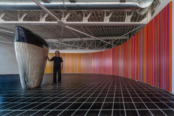 Jun Kaneko with Dango and Mirage installation in his studio. 2016. Photo Credit: Takashi Hatakeyama