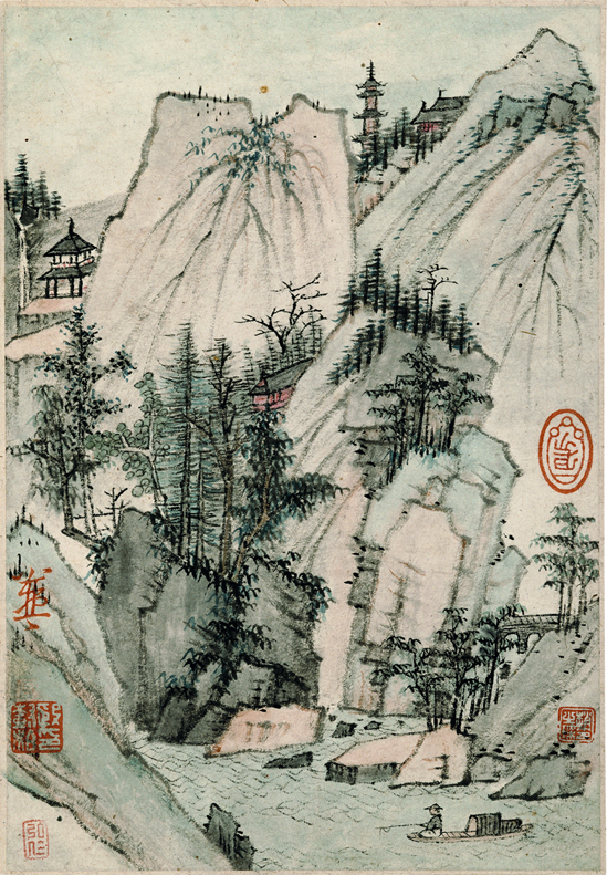 Hongren (1610–1664) 弘仁 Landscape with Pagoda, from the album, Landscapes and Calligraphies 書畫册 Qing dynasty, ca. 1651–64 Album leaf; ink and color on paper 18.7 × 12.9 cm. The Tsao Family Collection, Photo by Michael Tropea.