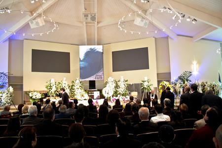 大本洋一さんの葬儀が行われたパロスバルデスのペニンスラ・コミュニティー・チャーチ