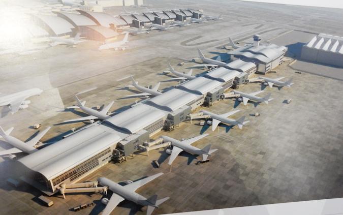 ロサンゼルス国際空港の新国際線ターミナル(ミッドフィールド・コンコース)の完成予想図