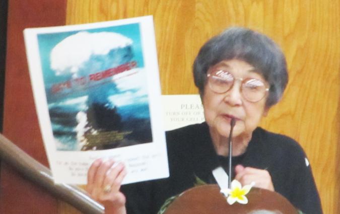 広島の被爆者で、アメリカで平和を訴えた据石和さん (1927 - 2017) (2014年8月3日撮影、Cultural News Photo)