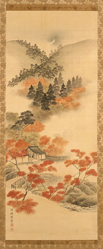 Genki (Komai Ki), Snow, Moon, and Flowers: Maples at Takao, 18th century, gift of Murray Smith, photo © Museum Associates/LACMA