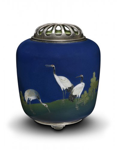 """Namikawa Yasuyuki, """"Incense Burner (kōro) with Design of Cranes and Pine,"""" c. 1905–15, Los Angeles County Museum of Art, gift from the Japanese Cloisonné Enamels Collection of Donald K. Gerber and Sueann E. Sherry, photo © Museum Associates/LACMA"""