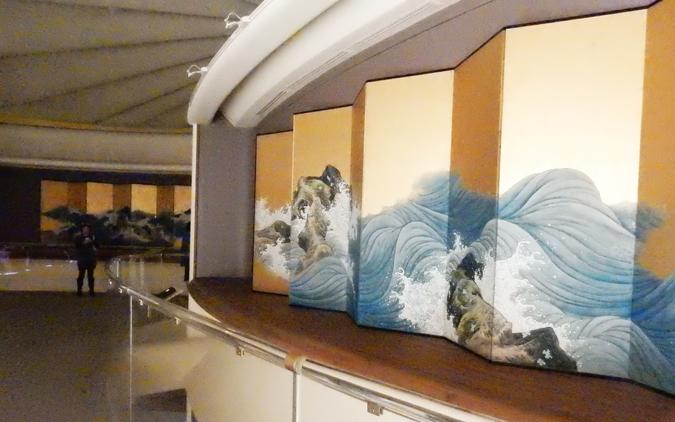 山跡鶴嶺(やまあと・かくれい)の京都「保津川」の屏風 (ロサンゼルス・カウンティー美術館・所蔵)