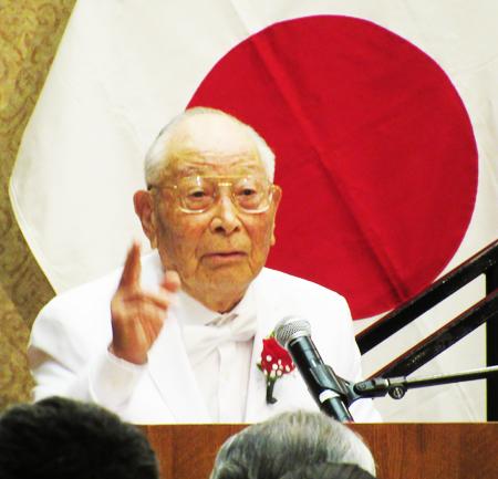 99歳になったばかりのオレンジ・カウンティー在住の三宅明巳さん (Cultural News Photo)