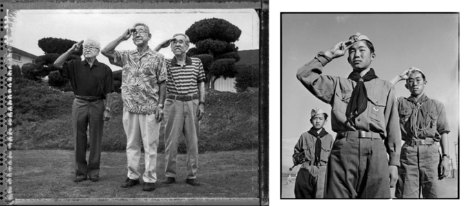 Left: In 2013, photographer Paul Kitagaki, Jr., tacked down Junzo Jake Ohara, Takeshi Motoyasu, and Edward Tetsuji Kato in the Los Angeles area. They posed outside Kato's home in Monterey Park, California. Right: At Heart Mountain Relocation Center in Wyoming in 1943, Boy Scouts Junzo Jake Ohara, 14, Takeshi Motoyasu, 14, and Edward Tetsuji Kato, 16, paid homage to the American flag. Photography by Pat Coffey, National Archives.