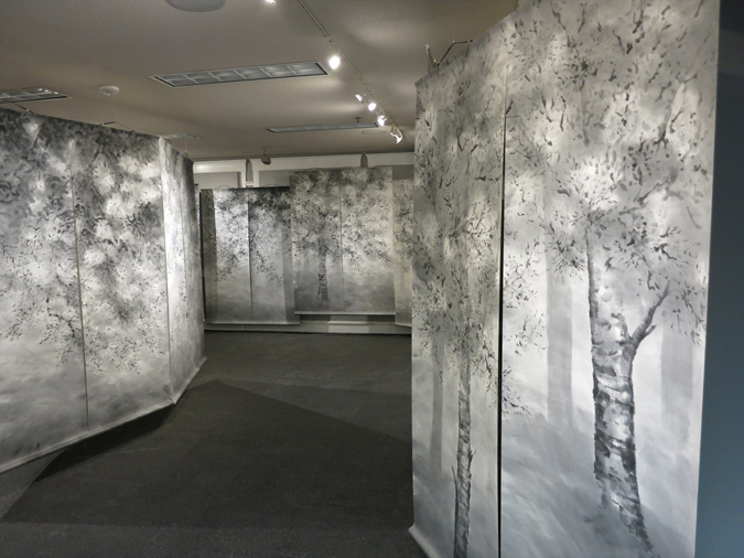 """Sakura (Cherry Blossoms)"" is an installation of 40 tapestries, each measuring 700x1950mm (approx. 27.5 x 77in), depicting the tree's transformation through Japan's four seasons. (Courtesy of Soho Nakano)"