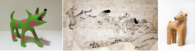 左から:草間弥生《SHO-CHAN》2013年 / 鳥獣人物画(部分)12-13世紀/ 《埴輪犬》 古墳時代6-7世紀