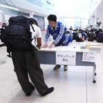 呉市役所でのボランティアの受付。2018年8月4日、午前9時。(Cultural News Photo)